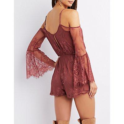 Lace Bell Sleeve Cold Shoulder Romper
