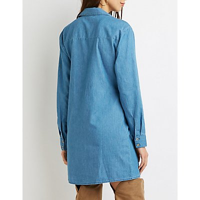 Chambray Front-Tie Shirt Dress