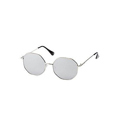 Oversized Metal Round Sunglasses