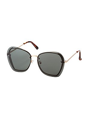 Oversized Rimless Sqaure Sunglasses