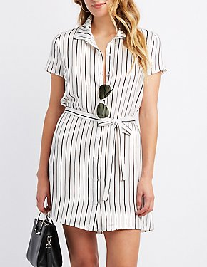 Striped Button-Up Shirt Dress