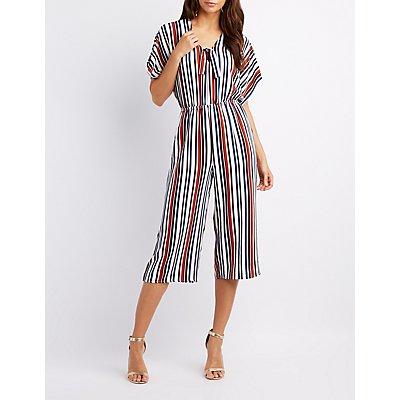 Striped Kimono Sleeve Jumpsuit