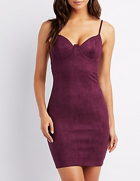 Faux Suede Bustier Bodycon Dress