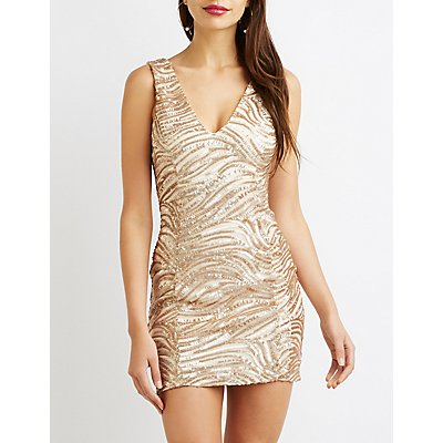 Sequin V-Neck Bodycon Dress