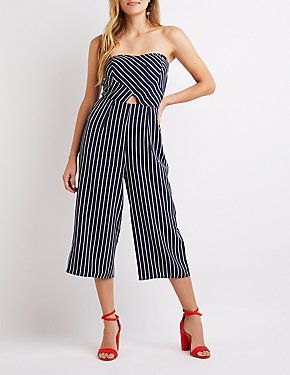 Striped Cut-Out Wide Leg Jumpsuit