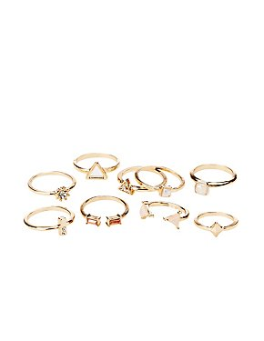 Boho Crystal Stackable Cocktail Rings - 9 Pack