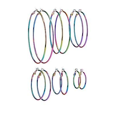 Holographic Hoop Earrings - 6 Pack