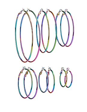 Holographic Hoop Earrings - 6 Pack