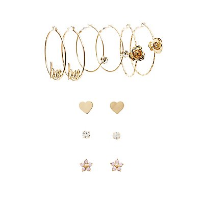 Bae Hoop & Stud Earrings - 6 pack