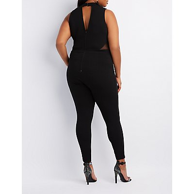 Plus Size Mock Neck Bodycon Jumpsuit