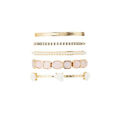 Faux Pearl & Embellished Bangles - 5 Pack