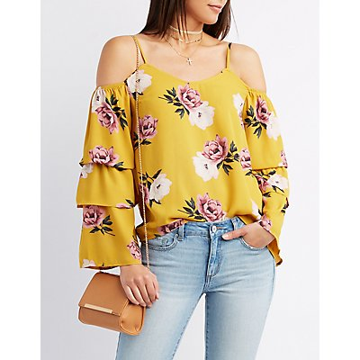 c7d2a93776f6e Charlotte Russe Floral Ruffle-Trim Cold Shoulder Top Floral Ruffle-Trim Cold  Shoulder Top