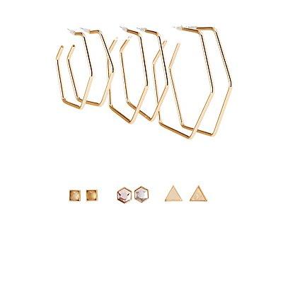 Stone Studs & Hoop Earrings - 6 Pack