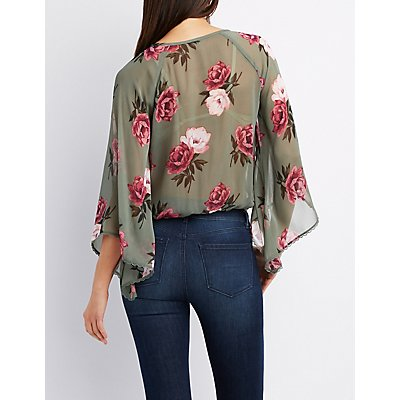 Floral Bell Sleeve Surplice Top
