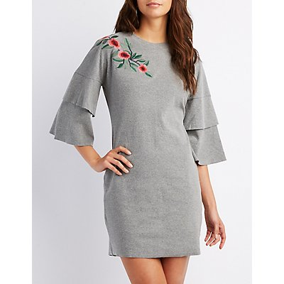 Embroidered Tiered Bell Sleeve Shift Dress