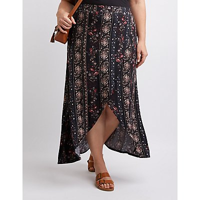Plus Size Floral & Paisley Maxi Skirt