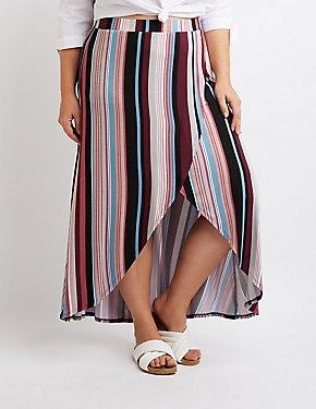 Plus Size Striped Faux Wrap Maxi Skirt