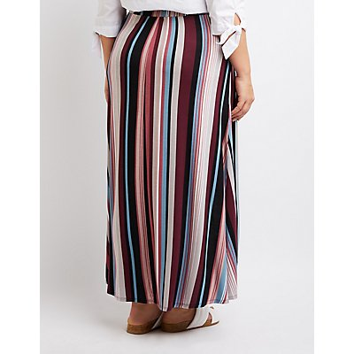 Plus Size Striped Faux Wrap Maxi Skirt