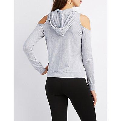 Cold Shoulder Pullover Hoodie