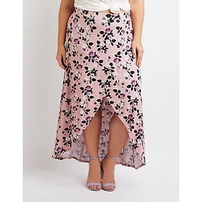 Plus Size Floral Maxi Faux Wrap Skirt