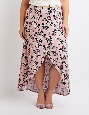 Plus Size Floral Maxi Faux Wrap Skirt