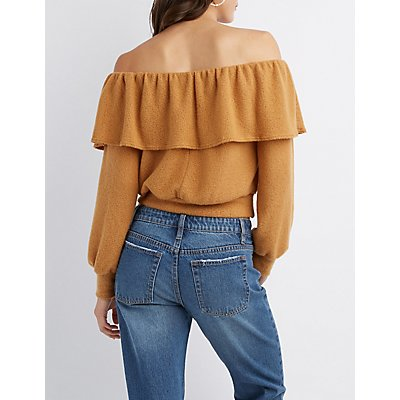 Ruffle-Trim Off-The-Shoulder Skimmer Top