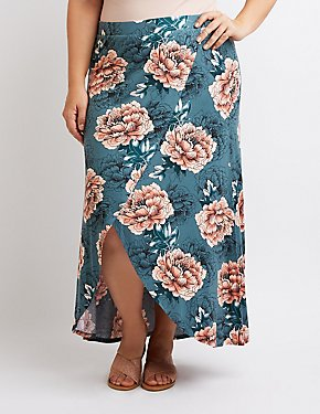 Plus Size Floral Printed Maxi Skirt