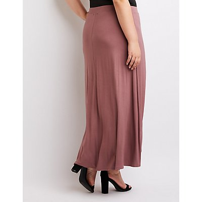 Plus Size Wrap Maxi Skirt