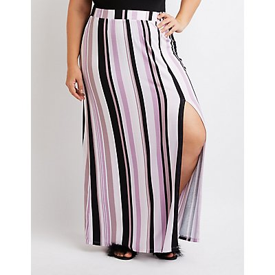 Plus Size Striped Single Slit Maxi Skirt