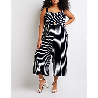 Plus Size Striped Sweetheart Jumpsuit
