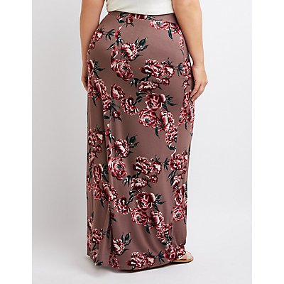 Plus Size Floral Maxi Skirt