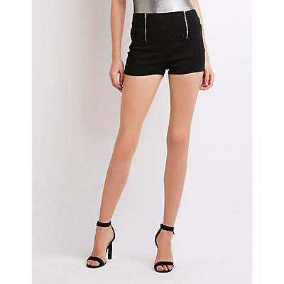 Zipper Detailed Hi-Rise Shorts