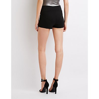 Zipper Detailed Hi-Rise Shorts