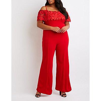 Plus Size Crochet Off-The-Shoulder Wide Leg Jumpsuit