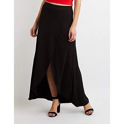 Ruffle-Trim Wrap Maxi Skirt