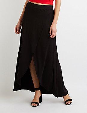 Ruffle-Trim Wrap Maxi Skirt