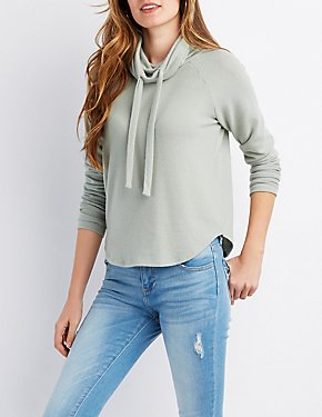 Cowl Neck Drawstring Pullover Crop Sweater