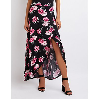 Floral Faux Wrap Maxi Skirt