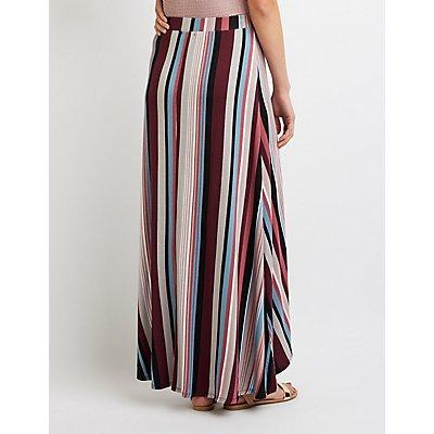Striped Maxi Wrap Skirt
