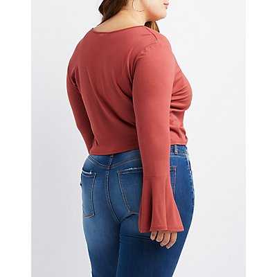Plus Size Ruched Bell Sleeve Top