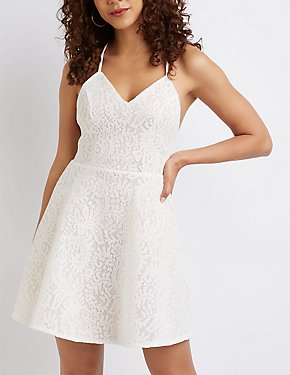 Strappy Back Lace Skater Dress