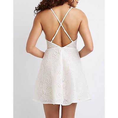 Open Back Lace Skater Dress