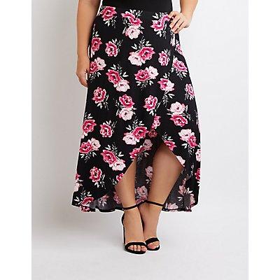 Plus Size Floral Faux Wrap Maxi Skirt