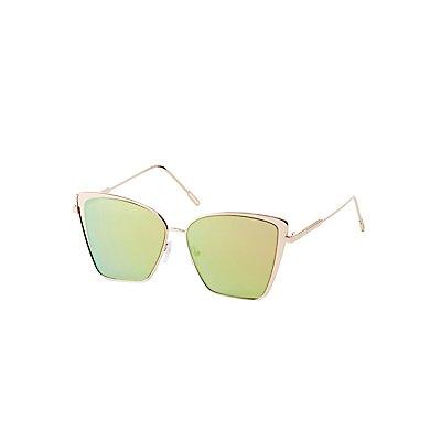 Oversized Metal Cateye Sunglasses