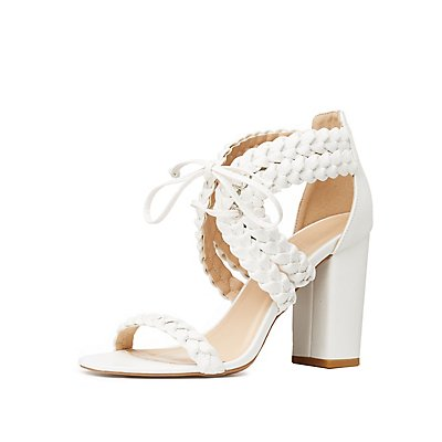 Braided Lace-Up Block Heels
