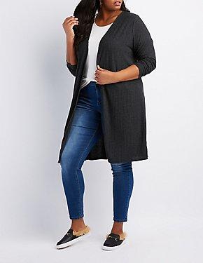 Plus Size Ribbed Hacchi Knit Cardigan