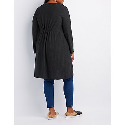 Plus Size Ribbed Hacchi Knit Cardigan