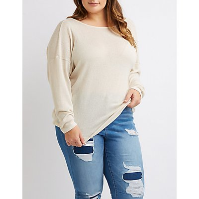 Plus Size Open-Back Knotted Top