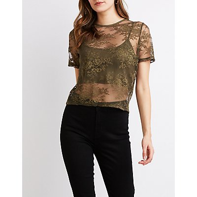 Floral Lace Crop Top