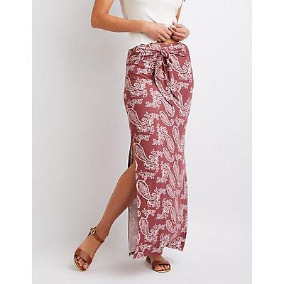 Paisley Print Tie-Front Maxi Skirt